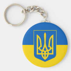 Ukraine Trident On Yellow And Blue Flag Keychain at Zazzle