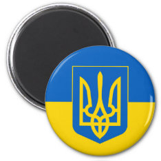 Ukraine Trident On Yellow And Blue Flag Magnet at Zazzle