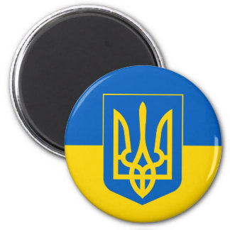 Ukraine Trident on Yellow and Blue Flag Magnet