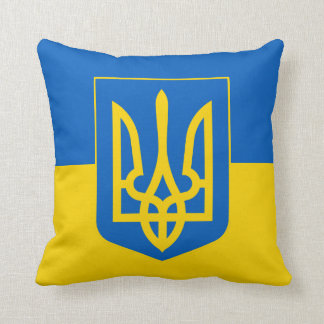 Ukraine Trident on Yellow and Blue Flag Pillow