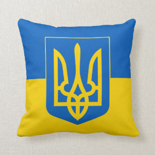 Ukraine Trident On Yellow And Blue Flag Throw Pillow at Zazzle