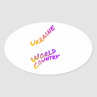 Ukraine world country, colorful text art oval sticker