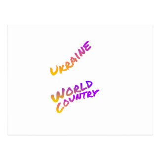 Ukraine world country, colorful text art postcard