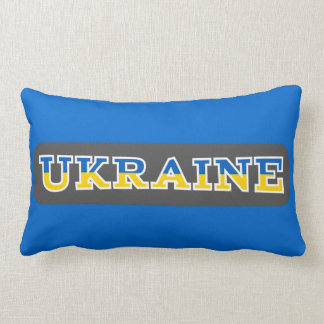 Ukraine written in it's State flags colors Lumbar Pillow