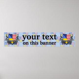 Ukrainian-American Shield Flag Banner Posters