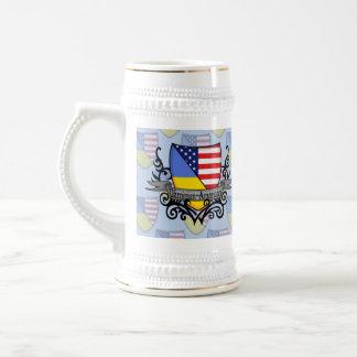 Ukrainian-American Shield Flag Beer Stein