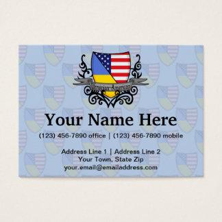 Ukrainian-American Shield Flag Business Card