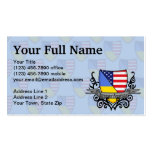 Ukrainian-American Shield Flag Business Cards