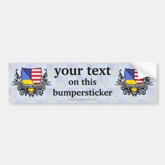 Ukrainian-American Shield Flag Car Bumper Sticker