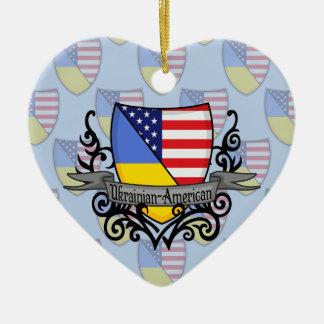 Ukrainian-American Shield Flag Ceramic Ornament