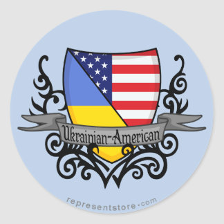 Ukrainian-American Shield Flag Classic Round Sticker