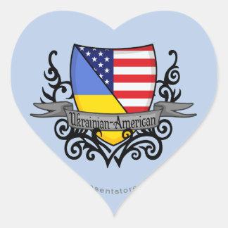 Ukrainian-American Shield Flag Heart Sticker