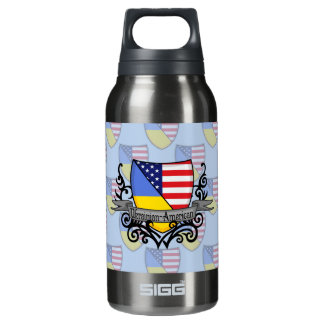 Ukrainian-American Shield Flag Insulated Water Bottle
