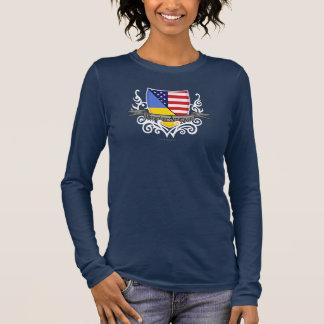 Ukrainian-American Shield Flag Long Sleeve T-Shirt