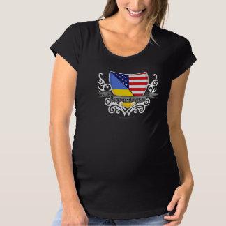 Ukrainian-American Shield Flag Maternity T-Shirt