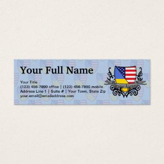 Ukrainian-American Shield Flag Mini Business Card