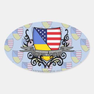 Ukrainian-American Shield Flag Oval Sticker