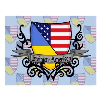 Ukrainian-American Shield Flag Postcard