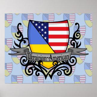 Ukrainian-American Shield Flag Poster