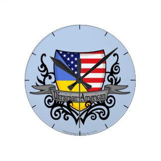 Ukrainian-American Shield Flag Round Clock