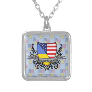 Ukrainian-American Shield Flag Silver Plated Necklace