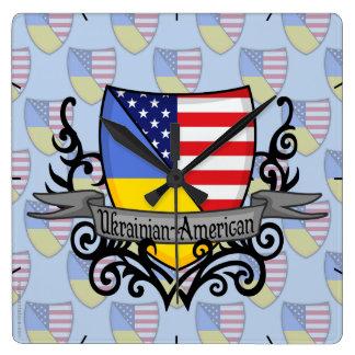 Ukrainian-American Shield Flag Square Wall Clock