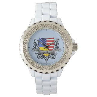 Ukrainian-American Shield Flag Wrist Watch
