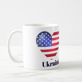 Ukrainian American US Flag Heart Mug