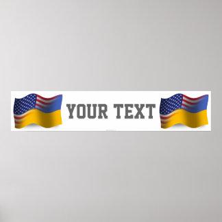 Ukrainian-American Waving Flag Banner Poster