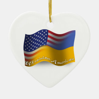Ukrainian-American Waving Flag Ceramic Ornament