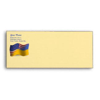 Ukrainian-American Waving Flag Envelope