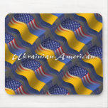 Ukrainian-American Waving Flag Mouse Pad