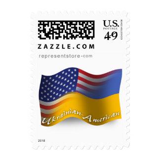 Ukrainian-American Waving Flag Postage Stamp