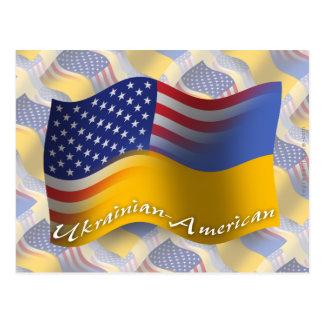 Ukrainian-American Waving Flag Postcard