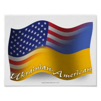 Ukrainian-American Waving Flag Posters