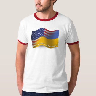Ukrainian-American Waving Flag Tee Shirt