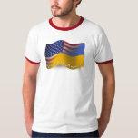 Ukrainian-American Waving Flag Tees