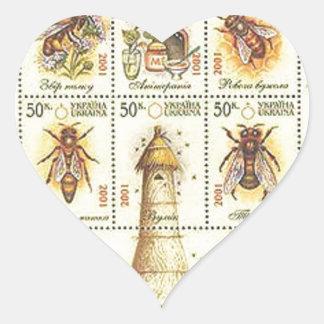 Ukrainian Beekeeping Stamp Heart Sticker