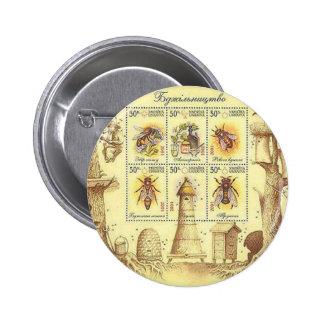 Ukrainian Beekeeping Stamp Pinback Button