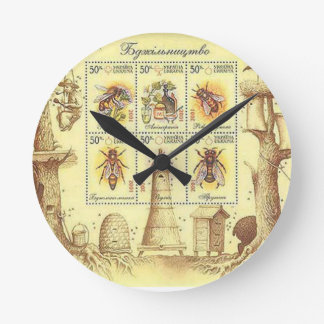 Ukrainian Beekeeping Stamp Round Clock