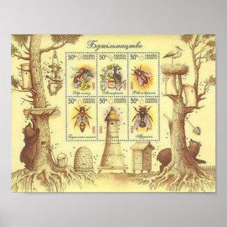 Ukrainian Beekeeping Stamp Sheet Poster