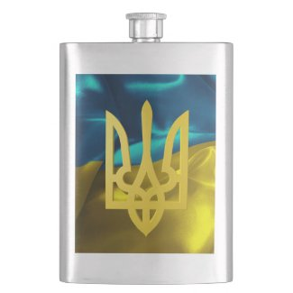 Ukrainian Blue Yellow Tryzub Waving Flag Hip Flask