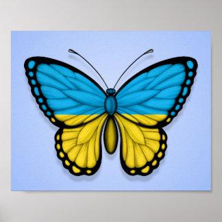 Ukrainian Butterfly Flag on Blue Print