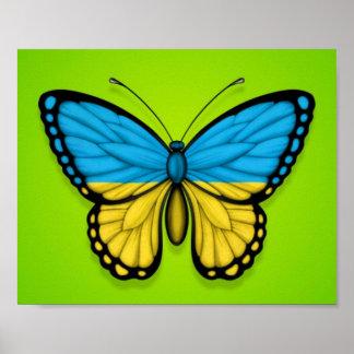 Ukrainian Butterfly Flag on Green Print