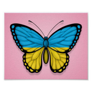 Ukrainian Butterfly Flag on Pink Poster