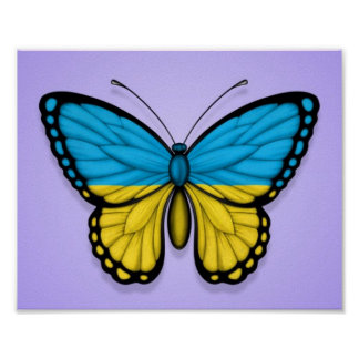 Ukrainian Butterfly Flag on Purple Print