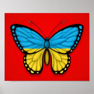 Ukrainian Butterfly Flag on Red Poster