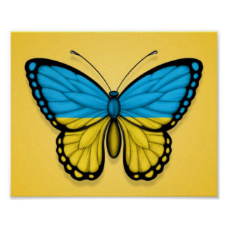 Ukrainian Butterfly Flag on Yellow Poster