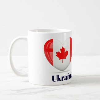 Ukrainian Canadian Flag Heart Mug