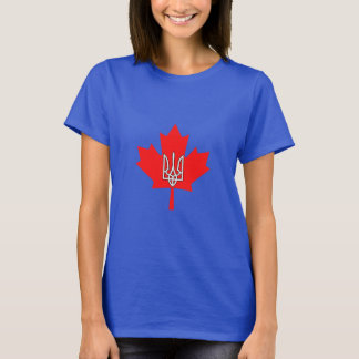 Ukrainian Canadian Pride Maple Leaf Tryzub T Shirt